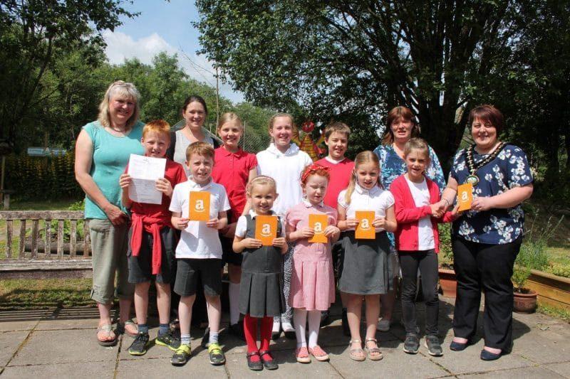 Photo of students and staff of Ysgol Dolafon school