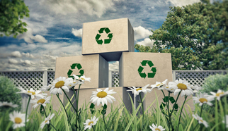 Image: Cardboard boxes with recycling symbol